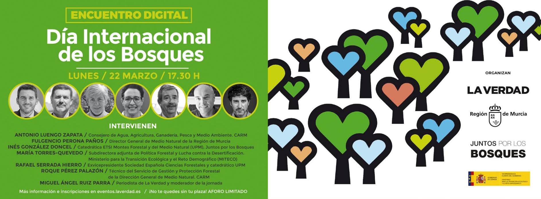 Banner Encuentro Digital sobre el Día internacional de los Bosques. 22 de marzo de 2021 a las 17:30 h